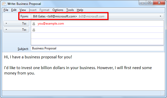 Email Spoofing Example Spoofed Email Spams